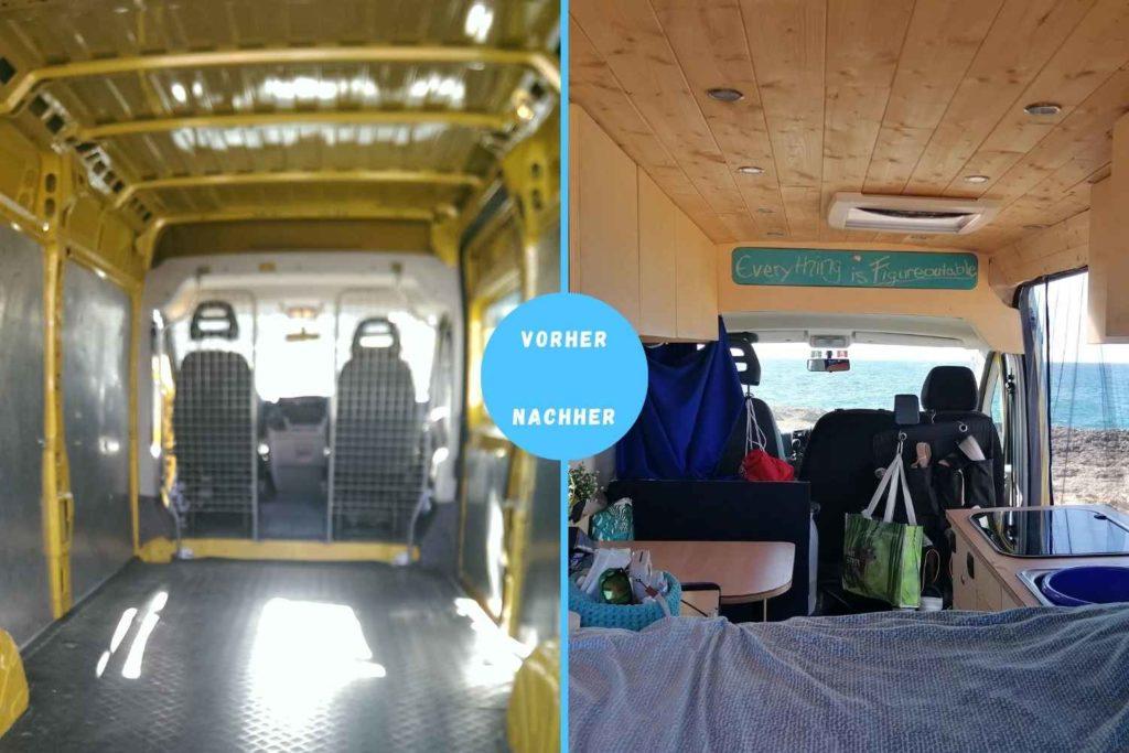 Vorher und Nach dem Camper Ausbau - Querformat