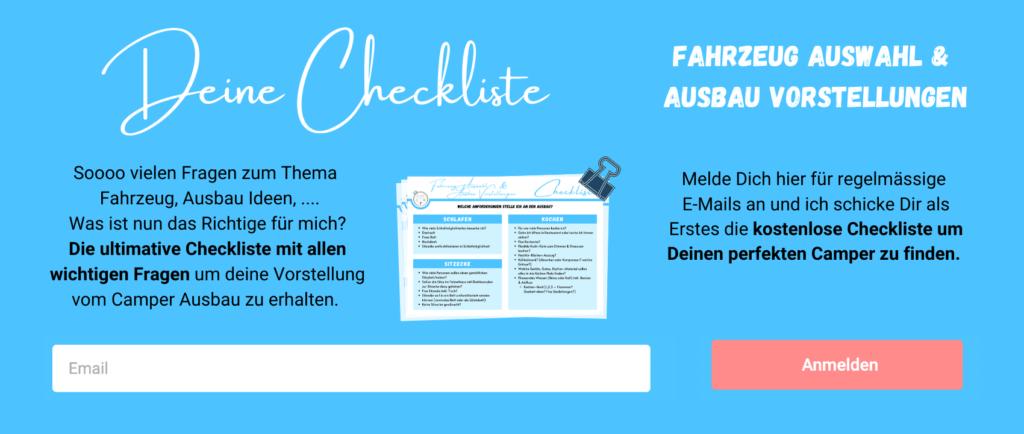 Grafik Checkliste Fahrzeug Auswahl und Ausbau Vorstellungen - Anmeldung Newsletter
