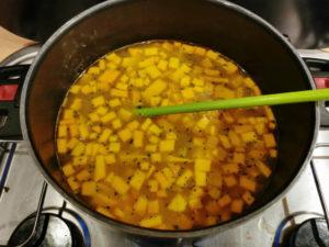 Zutaten köcheln lassen, Rezept Kürbis Suppe aus der Van Küche von Vroni's Vanlife