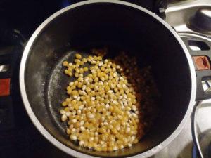 Popcorn im Topf machen, Popcorn Körner mit Öl im Topf erhitzen